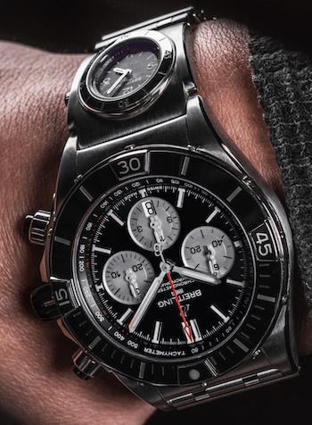 Breitling Super Chonomat B01 44 on wrist B&W