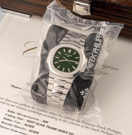 green dial Patek shrink wrapped