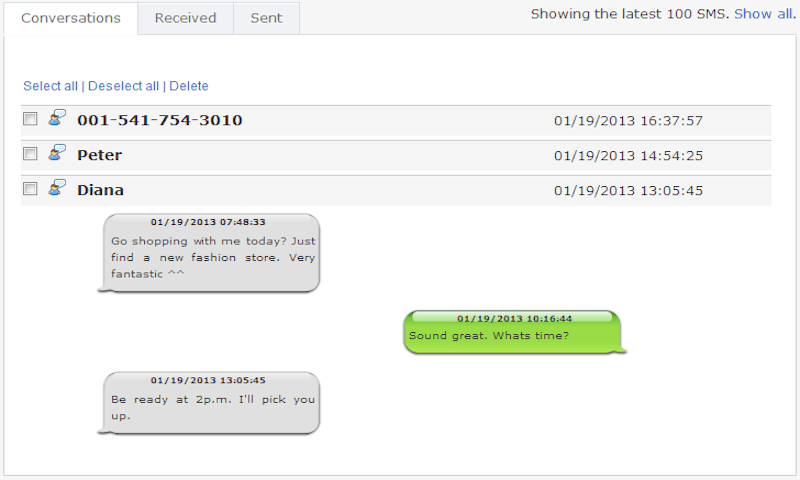 Features provided to you by TheTruthSpy for tracking on Text Messages