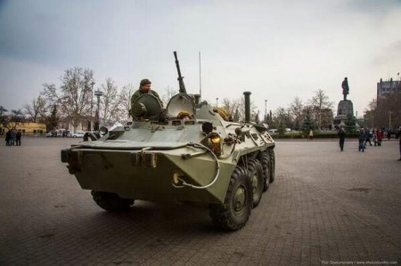 Russian Military Vehicle In The Main Square Of Sevastopol