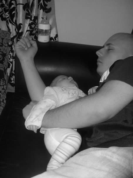Seren & I sleeping on the sofa