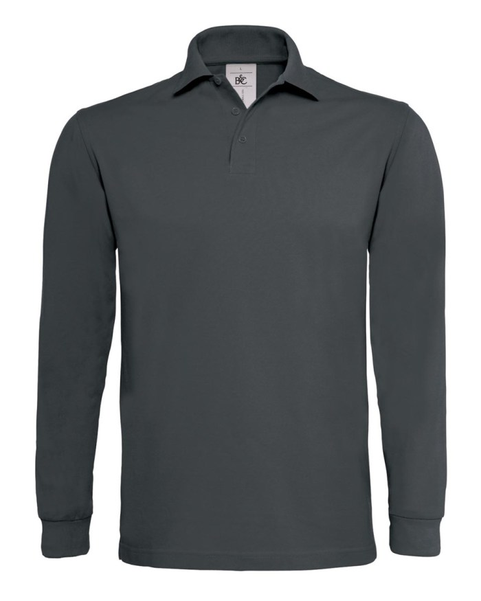 B and C Heavymill Long Sleeved Fine Piqué Polo Shirt