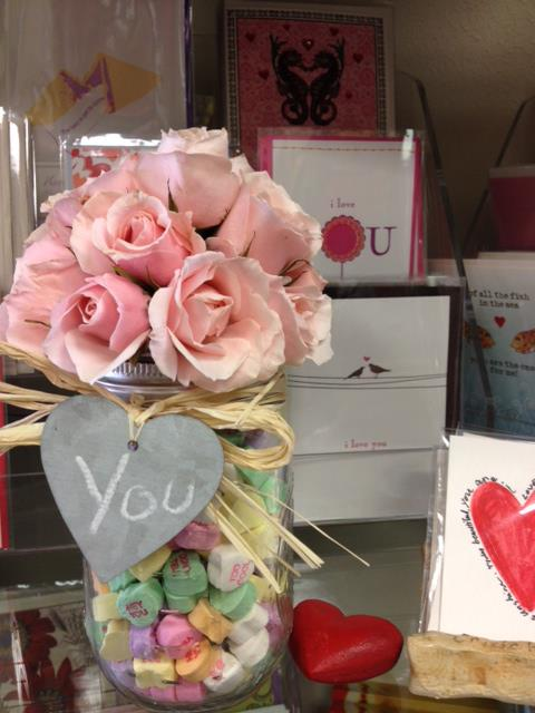 A Valentine's Day arrangement with light pink roses...