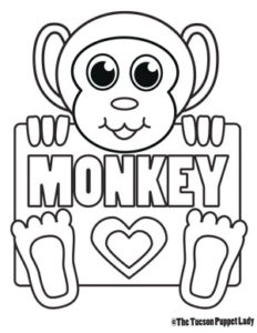 Free Monkey Coloring Page