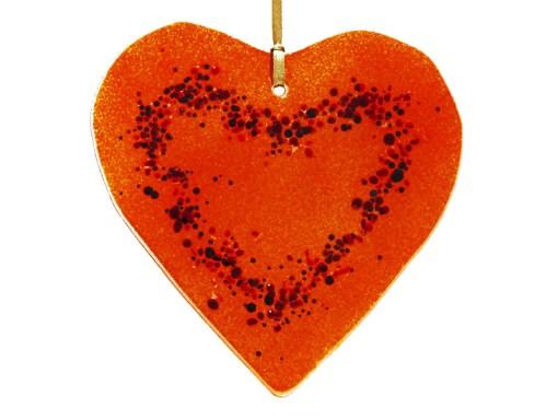 Helen Curtis orange glass heart
