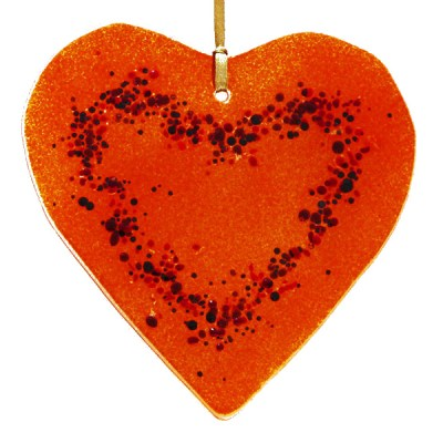 Helen Curtis orange glass heart