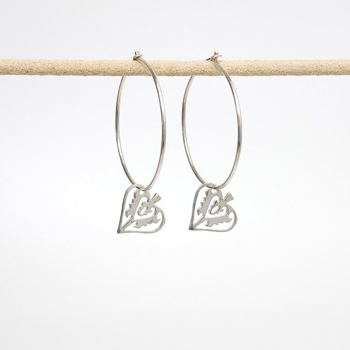 Handmade Sterling Silver earrings - Silver Ace of Club Hoops