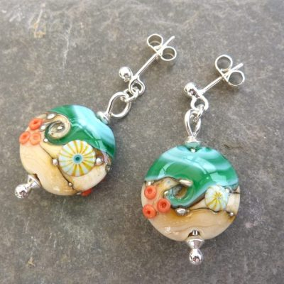 Handmade Sand & Sea Lentil Glass Earrings