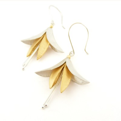 Fuchsia Earrings Silver Goldplated