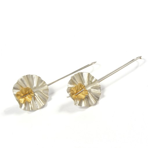 Handmade Silver & 18ct Gold Plate Sweetpea Earrings