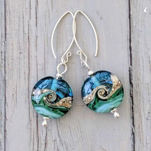 Deep Blue Sea Lentil Earrings