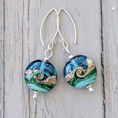 Deep Blue Sea Lentil Earrings