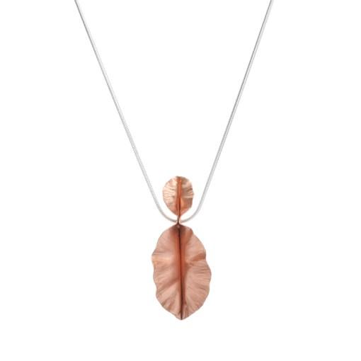 Copper Double Leaf Pendant