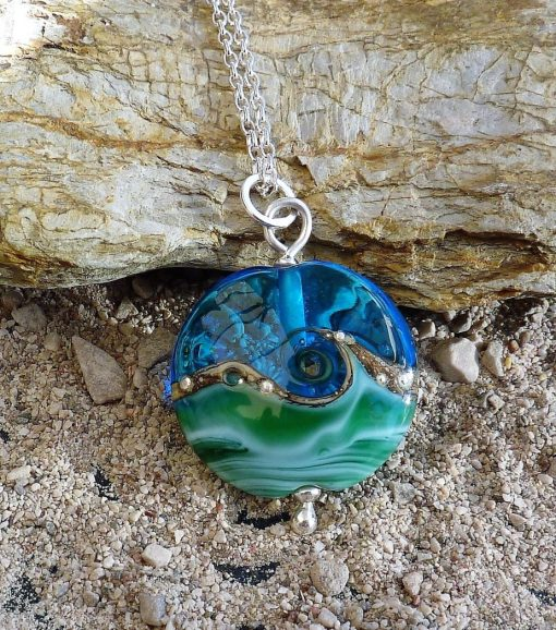 Deep Blue Sea Lentil Pendant