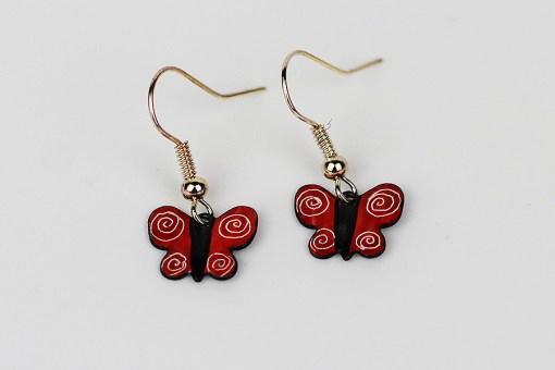 Handmade enamel butterfly earrings