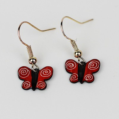 Handmade enamel butterfly earrings
