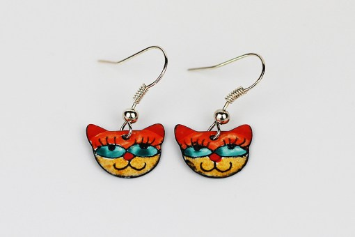 Handmade enamel cat earrings