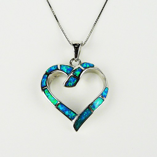 Sterling silver & opal heart necklace