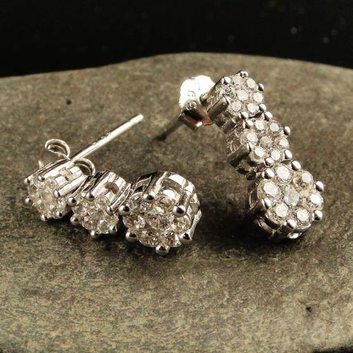 Silver & Cubic Zirconia Flower Earrings
