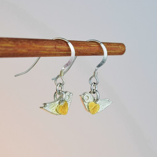 Silver & Gold Plated Mini Bird Earrings