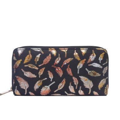 Black metallic print canvas purse