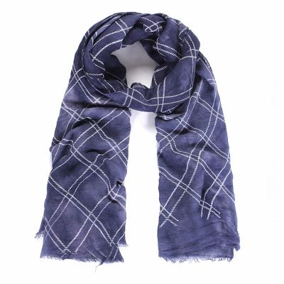 Blue flocked check long scarf