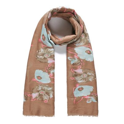 Brown floral print long scarf