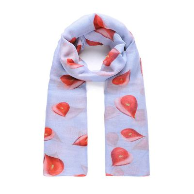 Grey/Red flamingo lily print long scarf