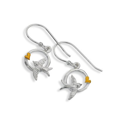 Golden Love Swallow Earrings