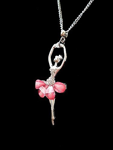 Handmade Personalise Girl's Pink Silver Large Ballerina Necklace Pendant