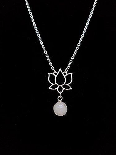 Handmade Silver Lotus Flower Pendant with Snow Quartz Gemstone Bead
