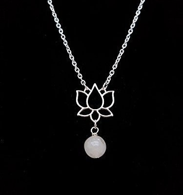 Handmade Silver Lotus Flower Pendant with Snow Quartz Gemstone Bead