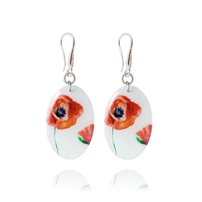 Red Poppy and Off-White Earrings