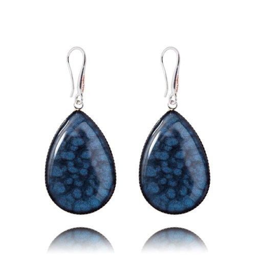 Navy Blue Drop Earrings