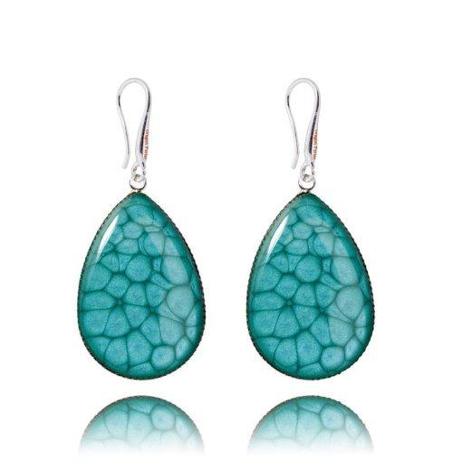 Stylish Aquamarine Blue Silver Tone Earrings