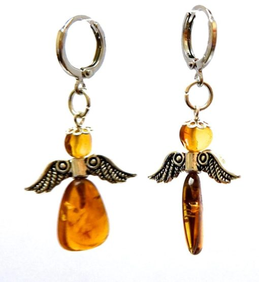 Sterling Silver 925 Amber Angel Drop Small Hoop Earrings