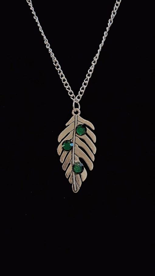 Handmade Silver Leaf Necklace with Green Flat Back Gems