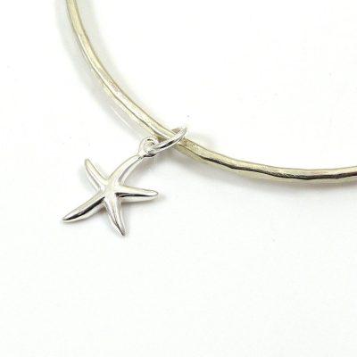 Handmade Sterling Silver Starfish Bangle
