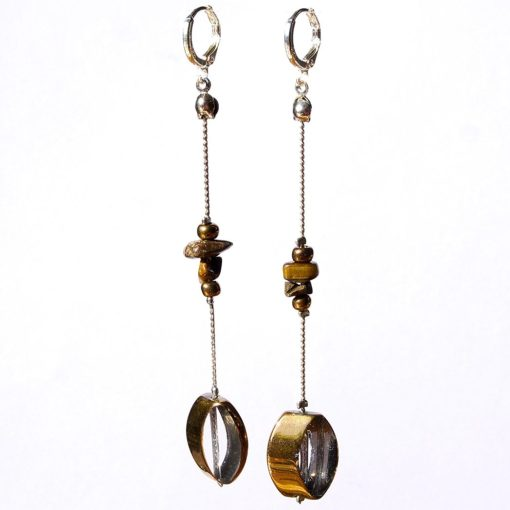 Sterling Silver 925 Long Dangle Earrings with Gemstones