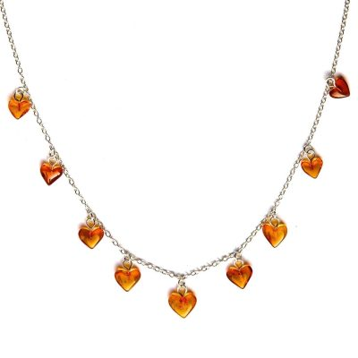 Sterling Silver 925 18 inch 46cm Chain Necklace with Amber Hearts