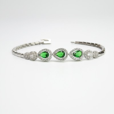 Sterling Silver Pear-Shaped Green Cubic Zirconia Bracelet