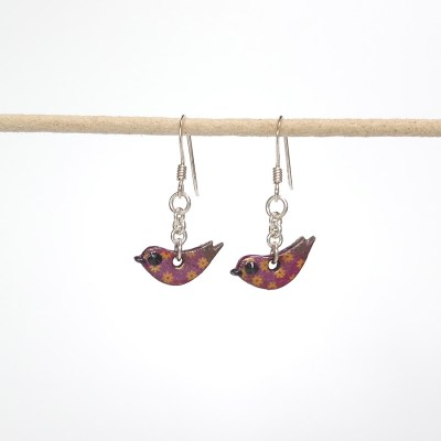 Handmade Wooden Bird Earrings