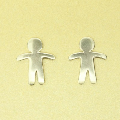 Handmade Sterling Silver Gingerbread Man Earrings