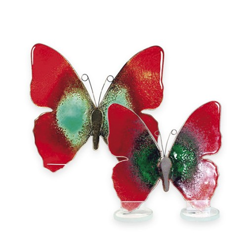 Handmade Fused Glass Butterfly Red