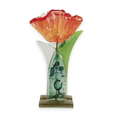 Handmade Fused Glass Orange Flower