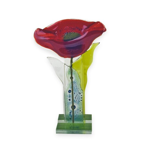 Fused Glass Red Poppy Flower