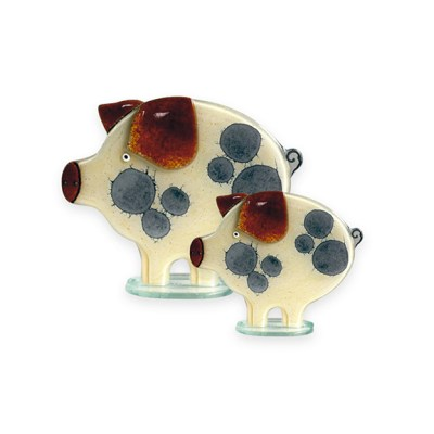Handmade Fused Glass Piglet Honey