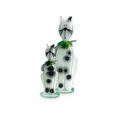Handmade Fused Glass Kitten Green