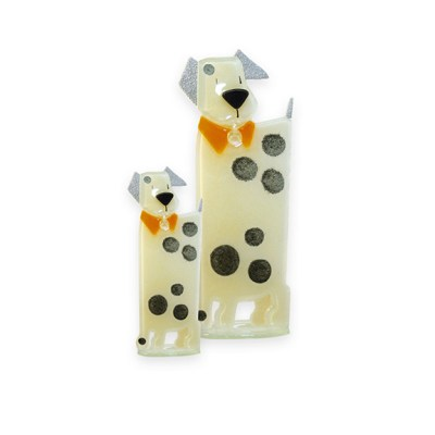 Handmade Fused Glass Puppy Honey