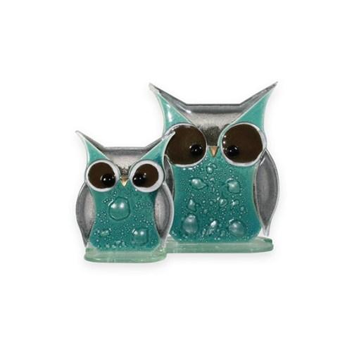 Handmade Fused Glass Owl Teal